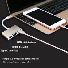 Type-C To 4k HD HDMI USB 3.0 HUB USB-C Charging Port Adapter USB 3.1 Cable 3 IN 1 For MacBook