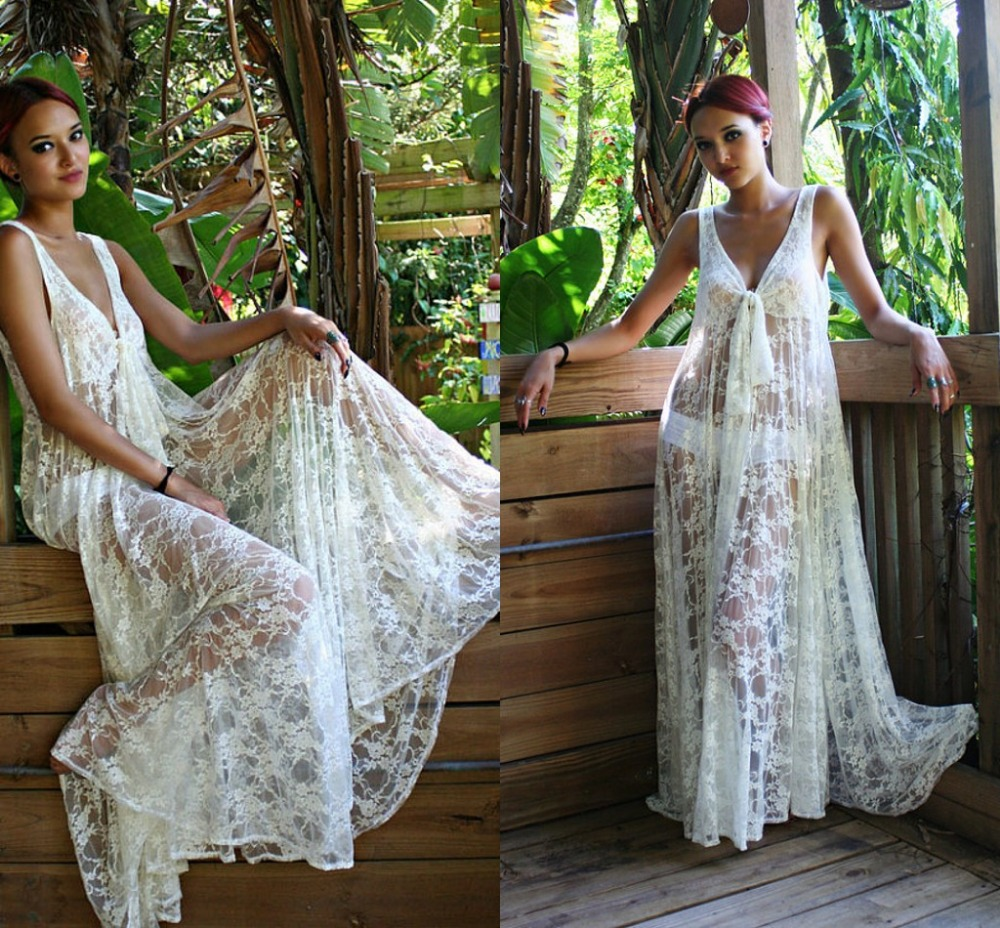 Women summer sexy white lace swimsuit long beach dress v neck maxi ...