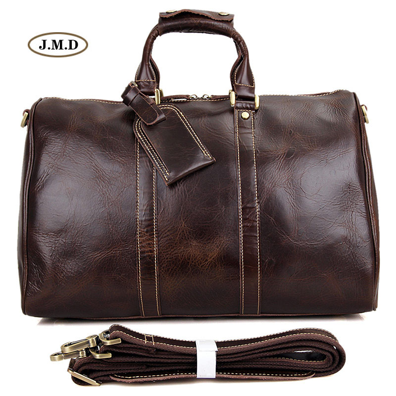 J.M.D New Style Genuine Excellent Vintage Leather Unisex Fashion Briefcase Laptop Bag Protable Travel Duffle Bag 7077C new arrival 100% excellent genuine leather laptop backpacks 7202i 1
