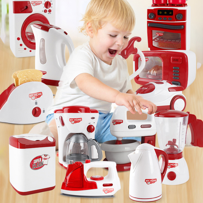 Children's Play House Large Washing Machine Children's Microwave Pot Kitchen Utensils Play House Toys Dollhouse Furniture