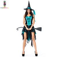 Blue/Black Witch Women Halloween Costume Adult Sexy Party Swallowtail Costumes Mesh Embroidered Strap Carnival Uniforms