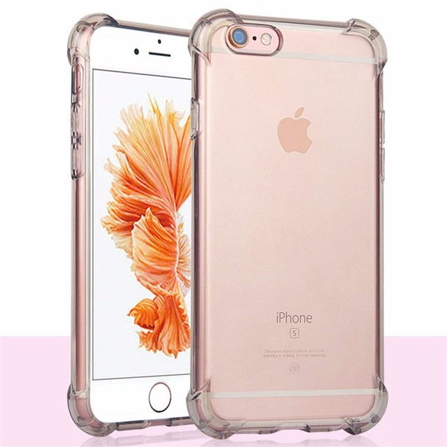pretty nice db272 656e8 US $2.38 5% OFF|Shock Proof Case for iPhone 8 7 6 6s Plus X Transparent  Cover Soft Silicone Corner TPU Etui for iPhone7 7Plus se Coque Capinha-in  ...
