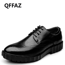 QFFAZ Oxford Shoes For Men Genuine Leather Slip On Men Dress Shoes Fashion Pointed Toe Carved Retro Men Shoes Drop Shipping