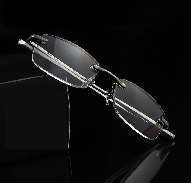 2018high-quality Aluminium Randlose Lesebrille Alte Lesebrille Hd Harz Objektiv Presbyopie Gläser Gafas De Lectura