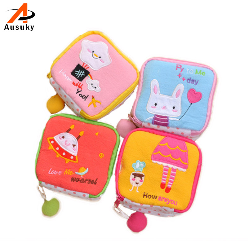 Cute Girl/Women Napkins Organizer Storage Hold Sanitary Napkin Bag Case Cartoon Small Necessaries Make Up Case Beauty 45 napkins