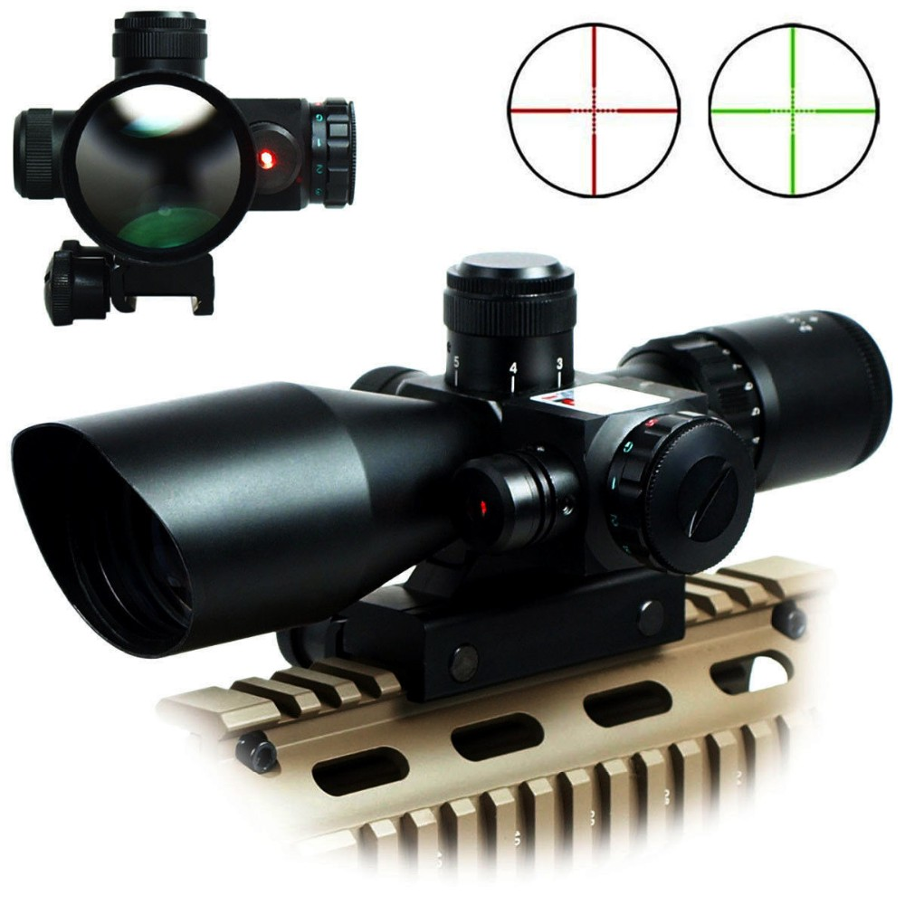 Aluminum alloy 2.5-10x40 Tactical Rifle Scope with Red Laser Combo Optical Sight with Illuminated Red Green Mil-dot Crosshair hunting red dot sight tactical 3 9x40dual illuminated mil dot rifle scope with green laser sight combo airsoft weapon sight