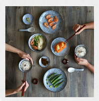 KINGLANG japanese style ceramic tableware set solid colored under glazed plates 12pcs set 2 person use