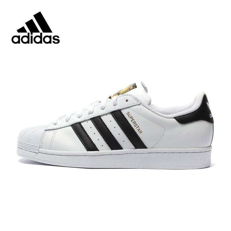 Original Adidas oficial superestrella trébol de las mujeres y los hombres que andan en monopatín Zapatos de deporte al aire libre zapatillas de deporte bajas de C77124