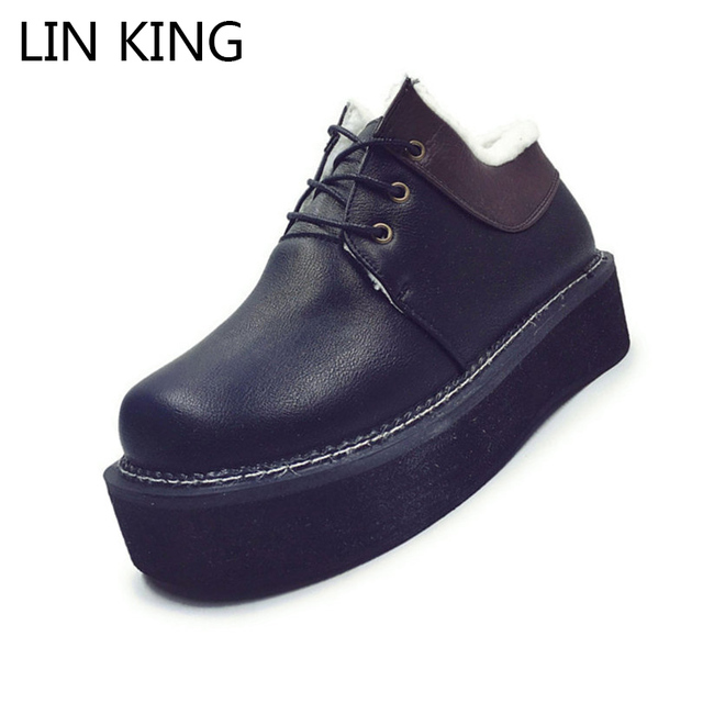 LIN KING New Arrival Women Casual Shoes Round Toe Thick Sole Flat Shoes Short Plush Lace Up High Top Platform Shoes Solid PU