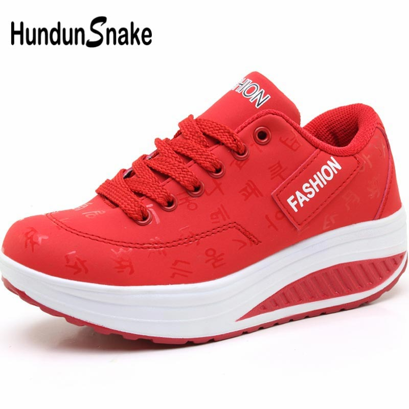 Hundunsnake Platform Sport Shoes Woman Sneakers For Women Running Shoes For Women On Thick Soles Toning Shoes Sports Red A-045