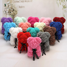 HOT Valentines Day Gift 25cm Red Rose Teddy Bear Flower Artificial Decoration Christmas Gifts Women