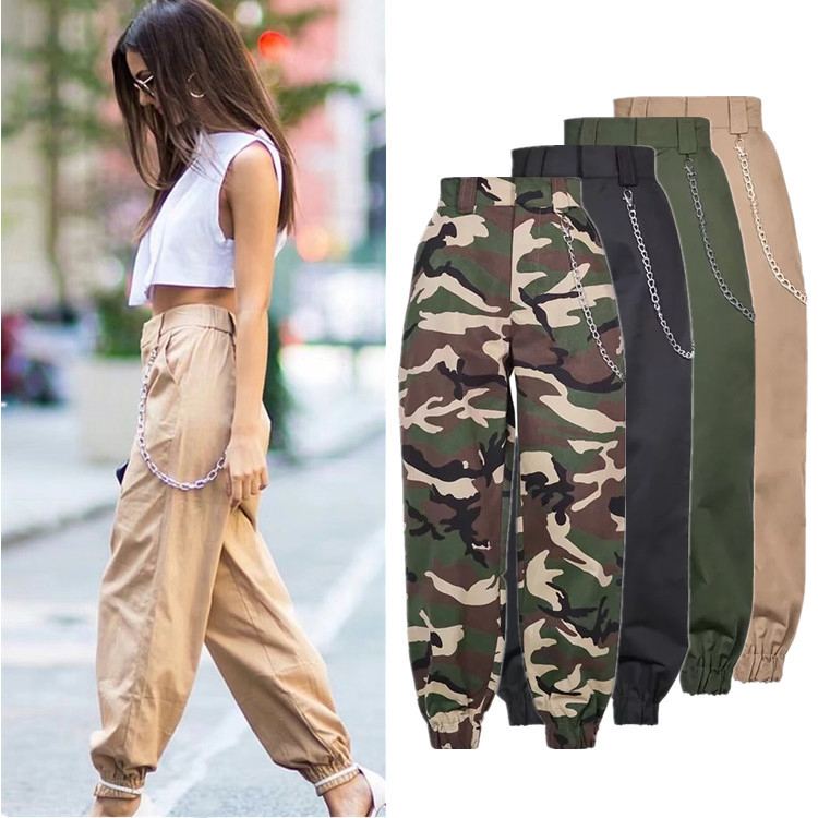 2019 Fashion Women Camouflage Pants High Waist Loose Trousers Joggers Women Cardo Pants Chain Women Pants Female Trousers spring outfits for kids