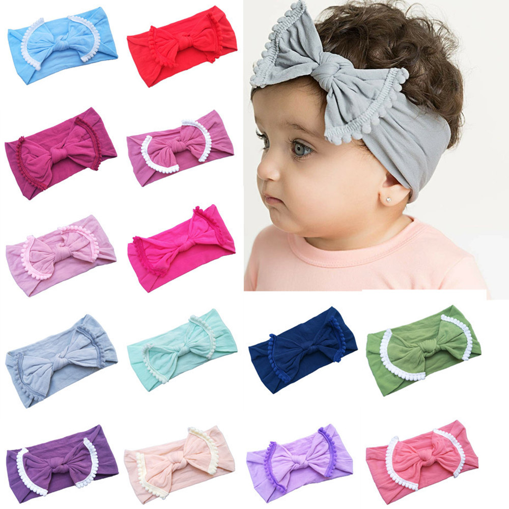 22 Colors High Elastic Bow Headbands For Baby Girls Toddler Nylon Hair Bows Headdress Turban Bow Knot Hair Bands Accessories