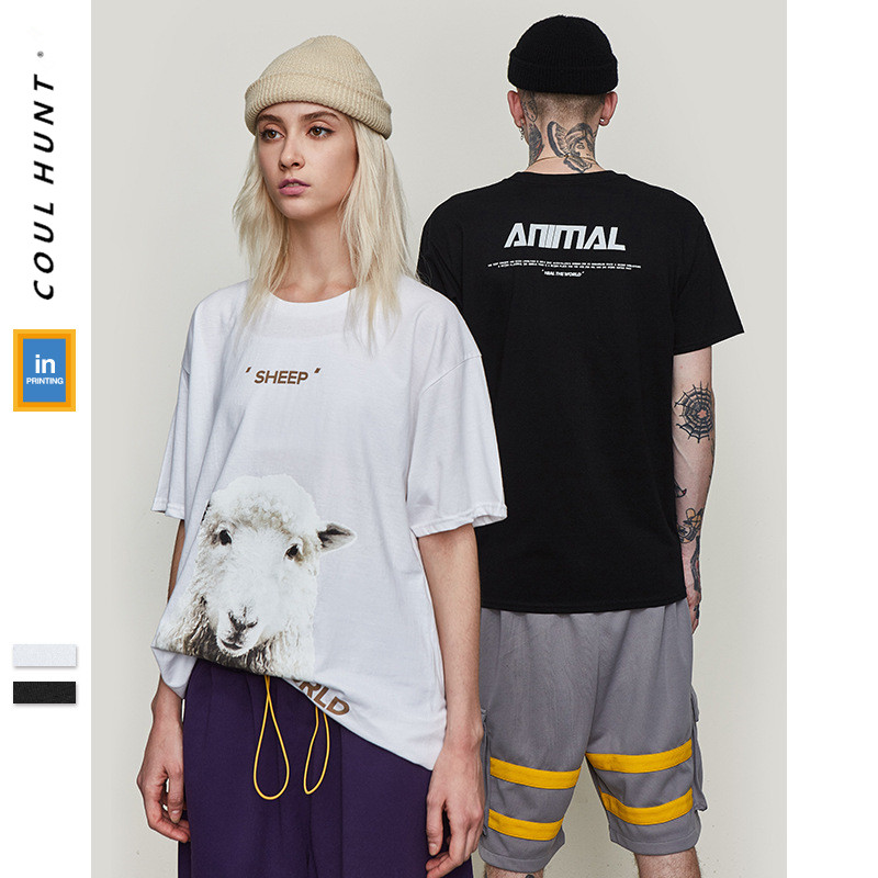 2019 SS Skateboard Graphic Funny Couple T-Shirt Cute White SHEEP Cotton Tees Hip Hop HEAL THE WORLD Letter Short Sleeve T Shirt