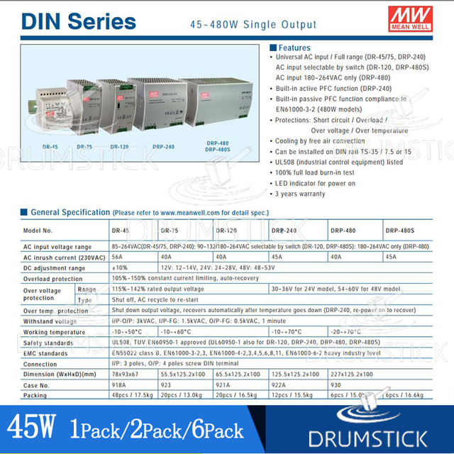 (1PACK) Meanwell 45W DIN Rail Power Supply DR-4524/5/12/15 2A 2.8/3.5/5A Home/Industrial Control System Building Automation 6