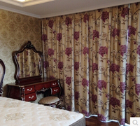 High end European purple curtain cloth thickness Relief Shading jacquard room curtain screens