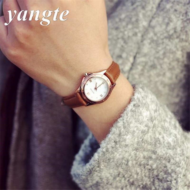 YANGTE Genuine Leather Wristwatches 2016 New Women Vintage Leather Strap Watches Classic Retro Quarts Women'S Slim Watches AZ051 247 classic leather