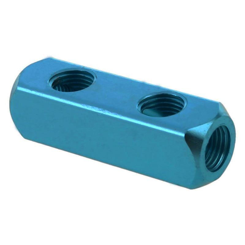 Sanitär 1/4 bspt 3 Weg Gewinde Aluminium Air Inline Splitter Verteiler Block Luft Kompressor Manifold Schlauch Schnell Koppler Steckdose 2 Weg Rohrverbindungsstücke