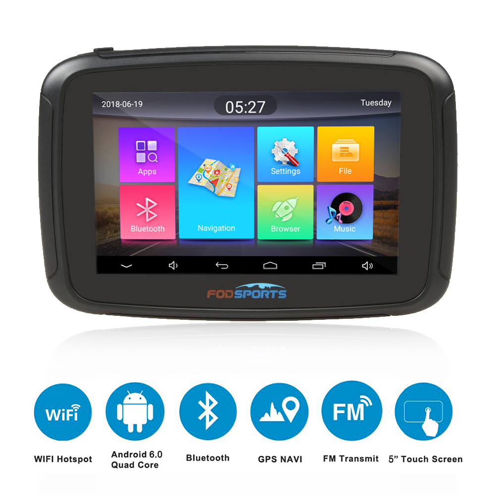 Fodsports ipx7 wasserdichte motorrad navigation 5 zoll auto GPS wifi 16G motorrad navigator android 6.0 fm 3000 mah batterie