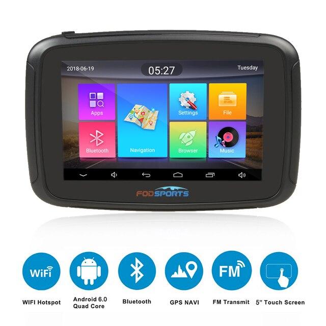 Fodsports ipx7 waterproof motorcycle navigation 5 inch car GPS wifi 16G motorbike navigator android 6.0 FM 3000mAh battery