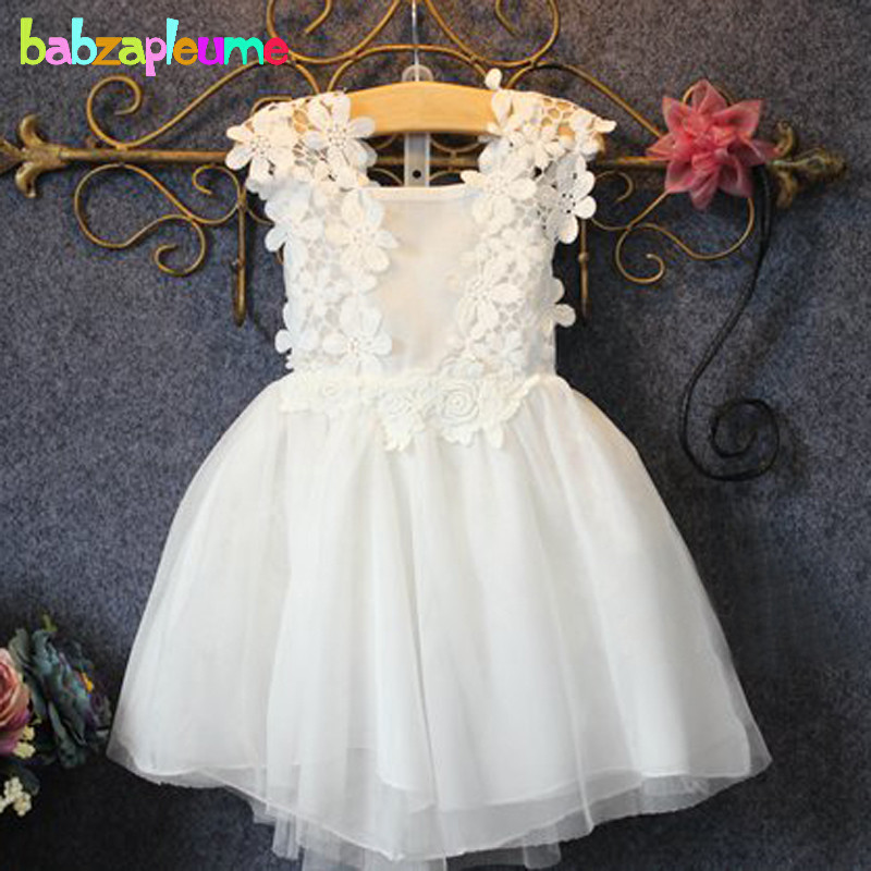 0-7Years/2016 Summer Children Girls Wedding Dresses Toddler Clothes Baby Flowers Lace Princess Tutu Dress Kids Clothing BC1165