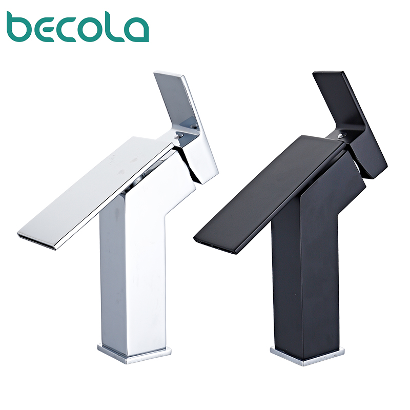 New Square Black Bathroom sink Faucet Brass Basin Mixer Bathroom Accessories Tap Chrome Bathroom Cold and Hot Basin Mixer Tap
