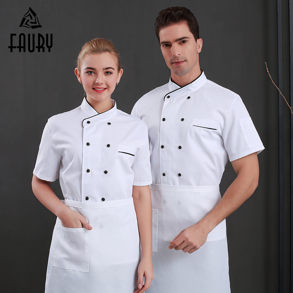 2019 Restaurant Uniforms Shirts Short Sleeve Chef Jacket Unisex Food Service Hotel Kitchen Work Clothes Chaqueta Blanca Hombre