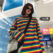 Harajuku 2019 Newest Women Sweatshirt Rainbow Striped Korean Style Matching Outfits Loose Fashion Tops For Female