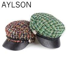 Clothing Baseball-Cap Beret Octagonal-Hat Military-Uniform Knit-Color Autumn Ladies New