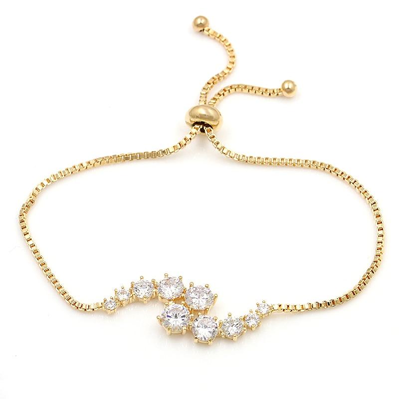 baiduqiandu Round Cut Cubic Zirconia Crystal Adjustable Allure zirconium Bracelets for Women in Silver Color or Rose Gold Colors
