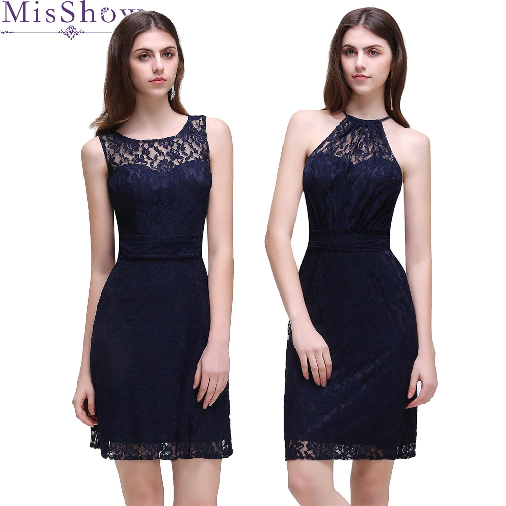 In Stock Navy Blue Short Lace   Cocktail     Dress   2019 Women Knee Length Gown Sexy Backless   Cocktail   Party   Dresses   Vestido Coquetel