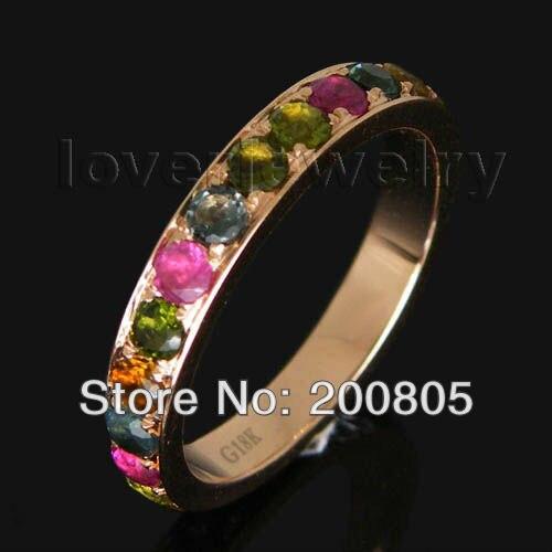 Удивительные Винтаж одноцветное 18kt розовое золото натуральный турмалин Обручение обручальное кольцо wu027