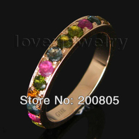 Amazing Vintage Solid 18kt Rose Gold Natural Tourmaline Engagement Wedding Band Ring WU027