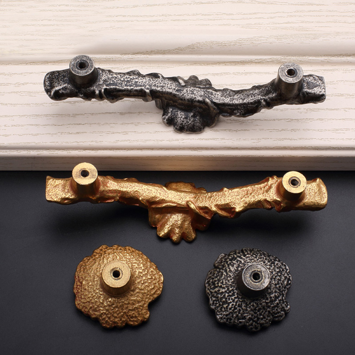 1x Luxury Furniture Door Knobs Antique silver Red Copper Wardrobe ...