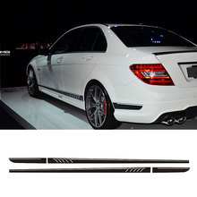 Gloss Black AMG Edition C63 507 Side Stripe Decals Stickers For Mercedes Benz C Class W204