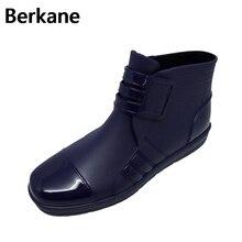 Ботильоны Для мужчин S резиновые сапоги для дождя Для мужчин водонепроницаемая обувь ПВХ Водонепроницаемый модные короткие gummisitefel резиновая черный противоскользящие Сапоги для мужчин