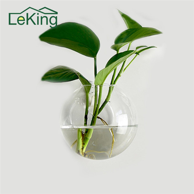 2 pcs Creative Hanging Flower Pot Glass Ball Vase Terrarium Wall Fish Tank Aquarium Container Home Garden Decor