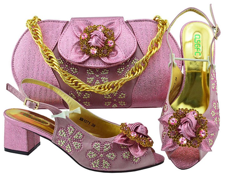 Latest Pink Color Italian Shoes with Matching Bags for Wedding Italy Nigerian Shoes and Matching Bags Bag and Shoes Set MM1071 fashionable plaid pattern pink color matching 5cm width tie for men