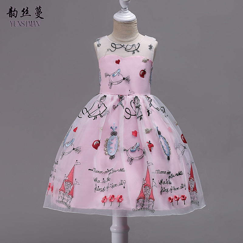 3 14 Years Girls Dress 8 10 12 to 14 Years Cartoon Letter Embroidered Mesh Dress Girl Fashion clothing kids teens clothes 1T04-in Dresses from Mother & Kids    1