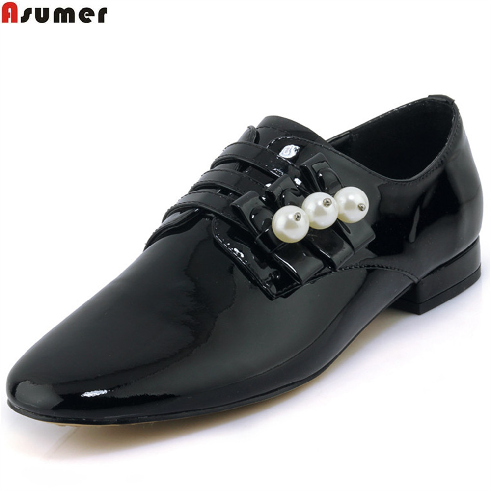 ASUMER black apricot fashion spring autumn ladies single shoes square heel buckle women genuine leather low heels shoesASUMER black apricot fashion spring autumn ladies single shoes square heel buckle women genuine leather low heels shoes