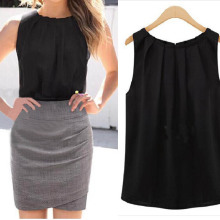 Sleeveless Chiffon Blouse Shirt Summer Crinkle O-Neck Women