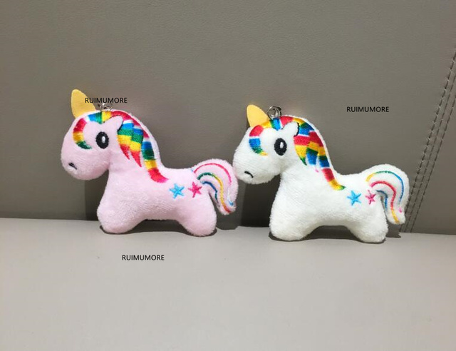 1X10 CM Aprox. Cor aleatória-Unicórnio De Pelúcia boneca de brinquedo de Pelúcia; chaveiro Pingente de Brinquedos De Pelúcia, Presente das Crianças Brinquedos de Pelúcia