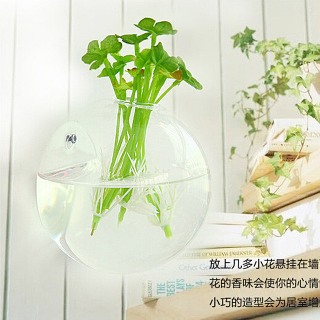 Decorative wall hanging wall vase clear glass vessel wall flower ...