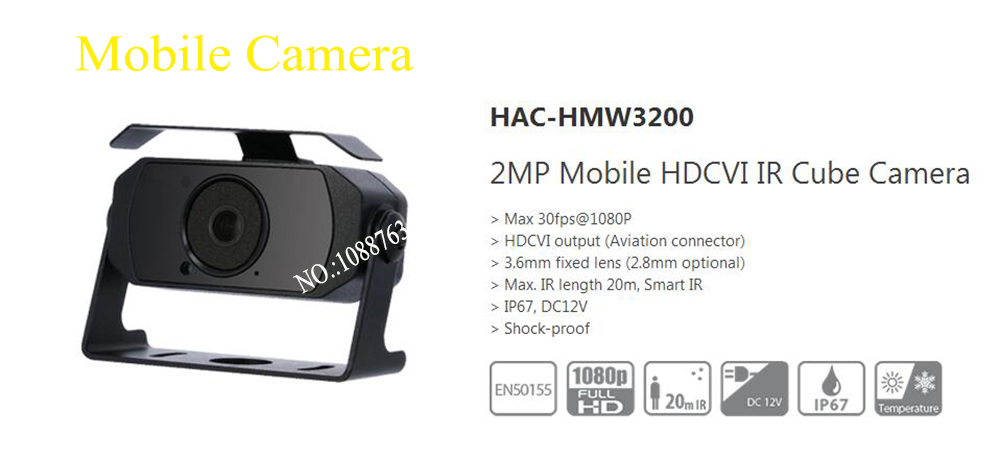 Free Shipping DAHUA NEW Product CCTV Camera 2MP Mobile HDCVI IR Cube Camera without Logo HAC-HMW3200