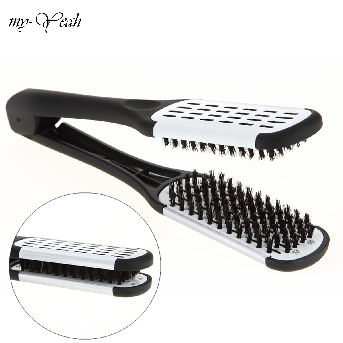 Pro Frisør Straightener Keramisk Hair Straightening Dobbeltbørster V Shape Comb Clamp Ikke Hurtig Styling Tools
