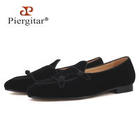 Piergitar/2019 ручной работы черного цвета Мужская бархатная обувь вечерние и свадебные Мужские модельные туфли большие размеры мужские лоферы с