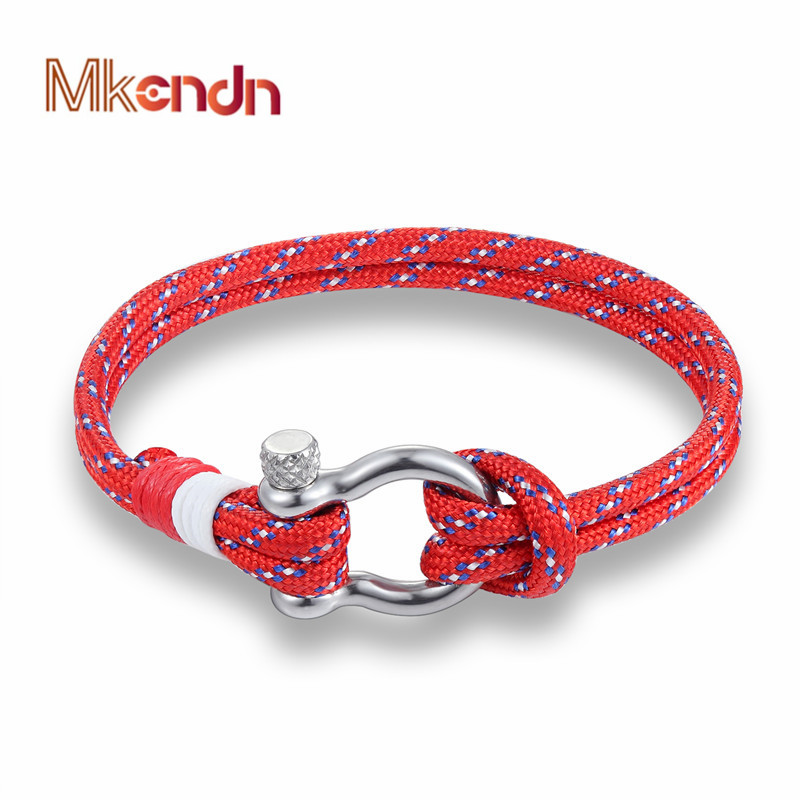 Hot Sale navy style Sport Camping Parachute cord Survival Bracelet Men Women with Stainless Steel Shackle Buckle Fashion Jewelry