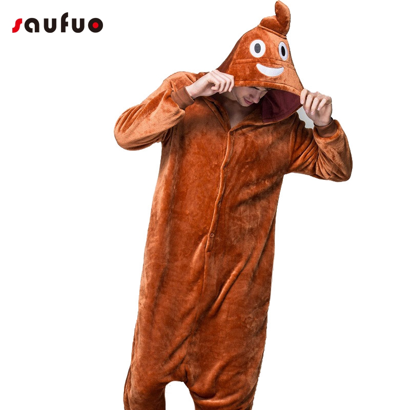 Funny Emoji Poo Adult Pajamas Halloween Autumn Winter Unisex Unicorn Pajamas Flannel Long Sleeve Hooded Pajamas
