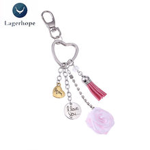 I Love You Mom Letter Keychain Small Mothers Day Gift Heart Shaped Rose Flower Tassel Key Buckle Fashion Jewelry Birthday