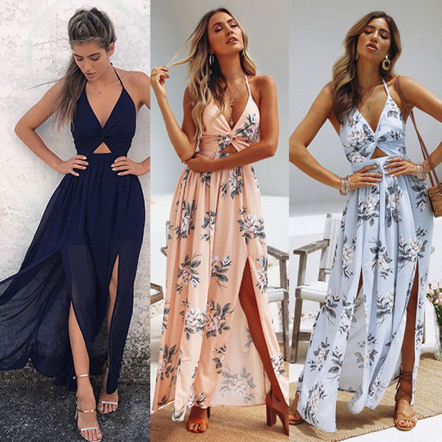 5d1322f21b28 Womens Summer Boho Maxi Long Dress Evening Party Beach Dresses Sundress  Floral Halter Dress Summer 2018